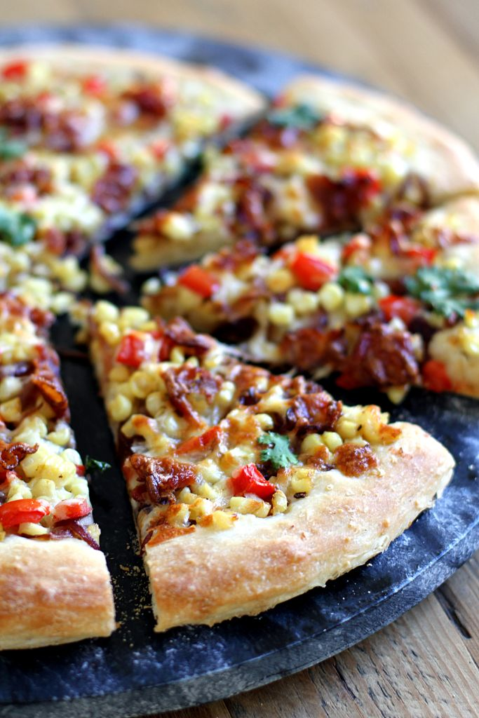 Corn, Caramelized Onion and Bacon Pizza