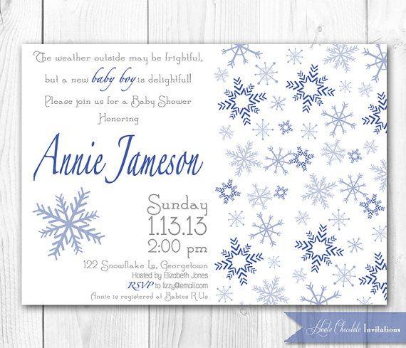 Winter Snowflake Baby Shower Invitation. By HauteChocolateFavors, $14.00