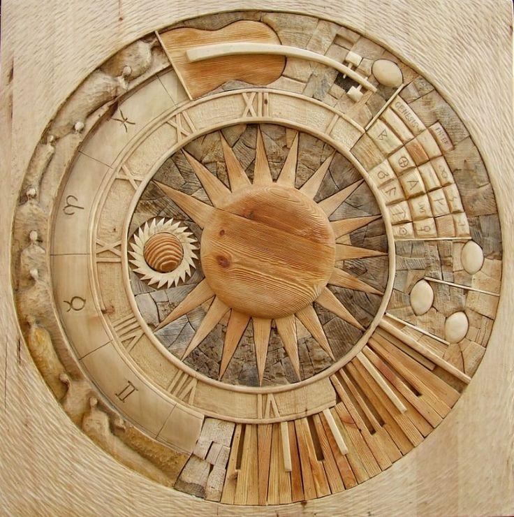 wood art, Tony života,100 x 100 cm, different kind of wood, sun