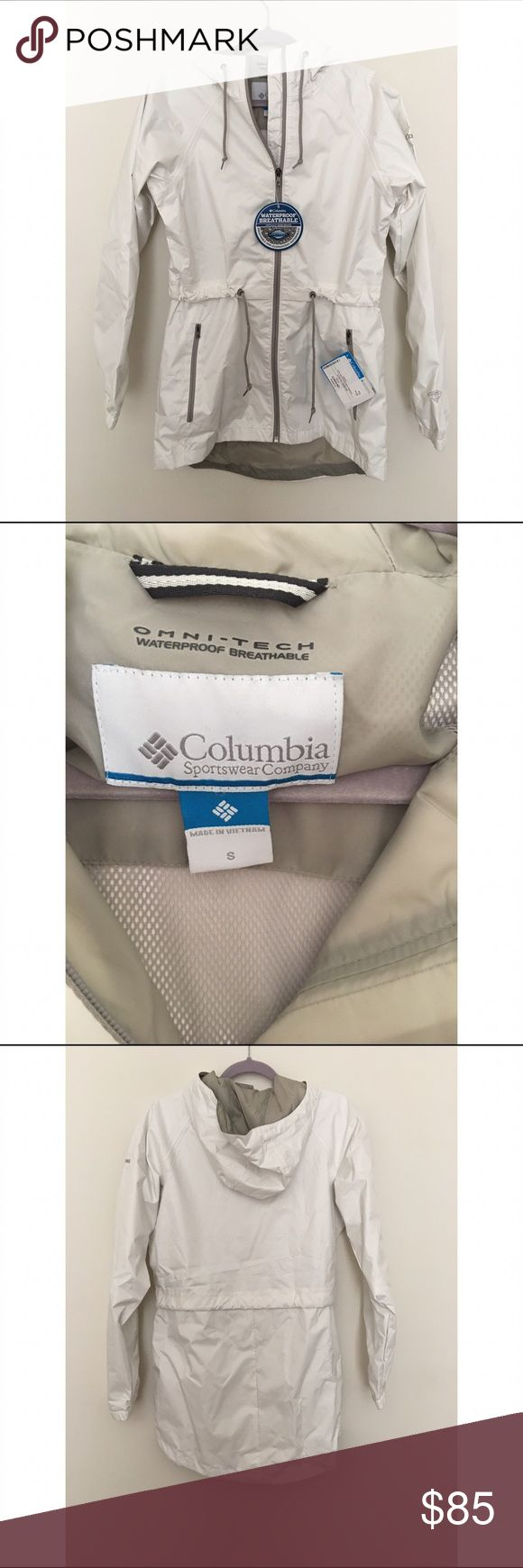 Columbia Rain Coat Brand new with tags rain jacket from Columbia. This was ordered from Marley Lilly and was not monogrammed at all. In perfect condition; was just too big for me. Color is sea salt and fits a small-medium. Does have strings to tighten at waist for a fitted look. Super cute and perfect for the upcoming spring weather! ☔️ Columbia Jackets & Coats