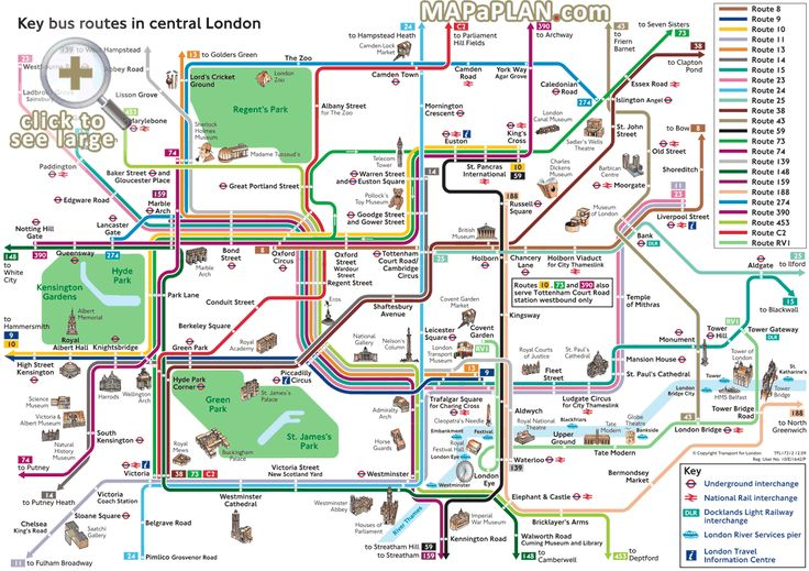 London top tourist attractions map Key bus routes by tourist – Map Of Central London With Tourist Attractions