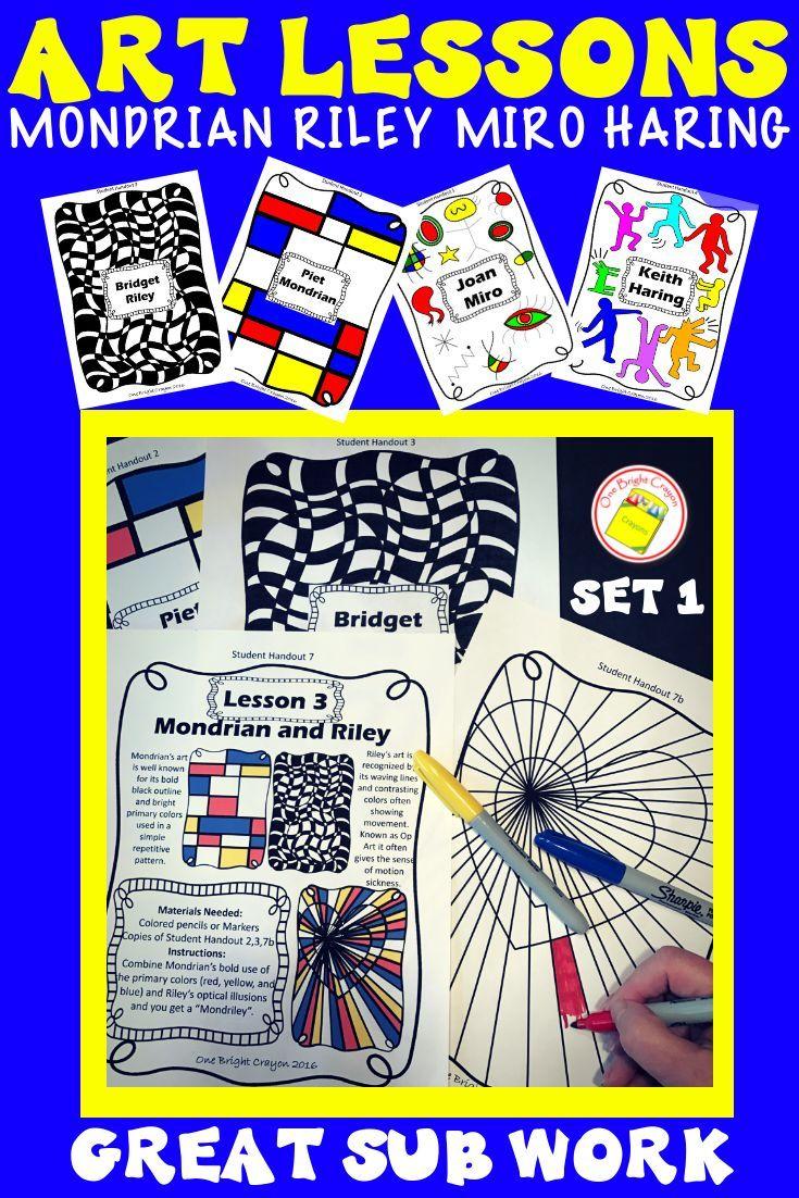Art Lesson Mondrian, Riley, Haring, Miro | OBC TPT Store