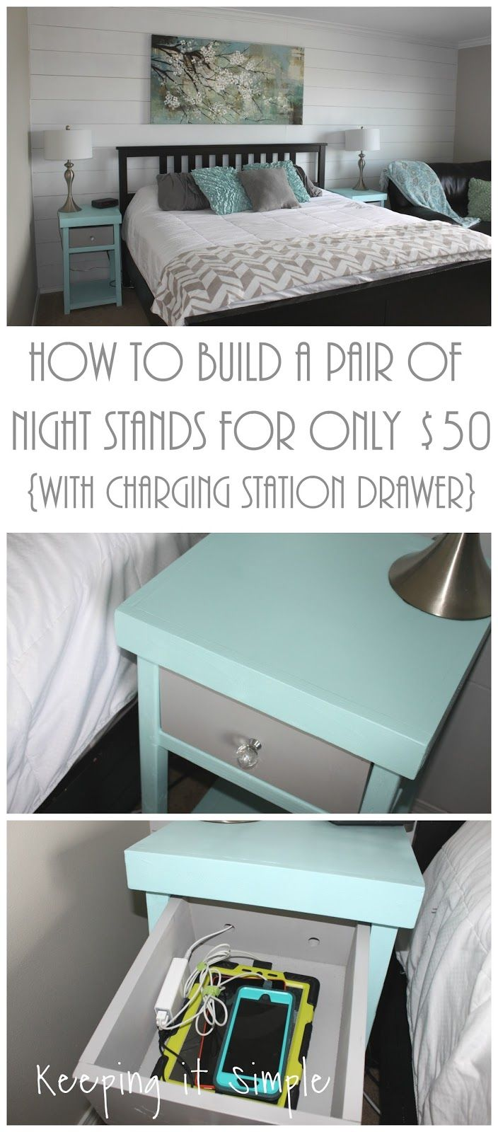 How to build a pair of DIY night stands for only $50 with a charging station drawer.