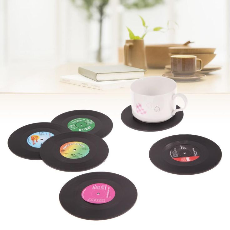 6 Pcs/ set Home Table Cup Mat Decor Coffee Drink Placemat Tableware Spinning Retro Vinyl CD Record Drinks Coasters #Coffeedrinks