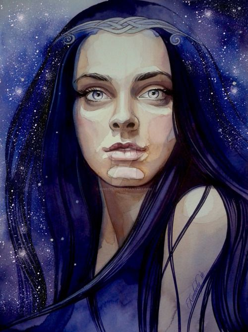 """alicebeckstrom  Then Melian looked in [Galadriel's] eyes, and said: """"I believe not that the Noldor came forth as messengers of the Valar, as was said at first: not though they came in the very hour of our need. For they speak never of the Valar, nor have their high lords brought any message to Thingol, whether from Manwë, or Ulmo, or even from Olwë the King's brother, and his own folk that went over the sea. ~ The Silmarillion, Chapter 15 (Melian by kimberly80, deviantART)"""