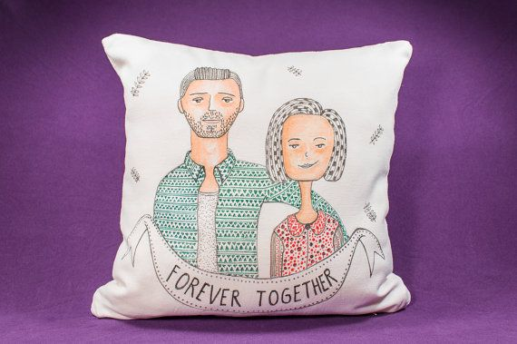 15 by 15 Hand-drawn Custom portrait on pillow by detcraft on Etsy