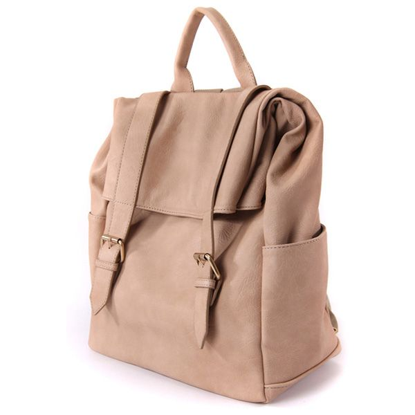 Leather Backpack Women Satchel Two Buckles Casual Backpack at doozybag.com