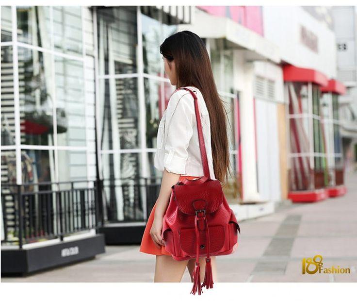 2016 Рюкзак женщины кожаный старинные кисточкой мода рюкзак для девочек опрятный стиль рюкзак школы HB 431 купить на AliExpress