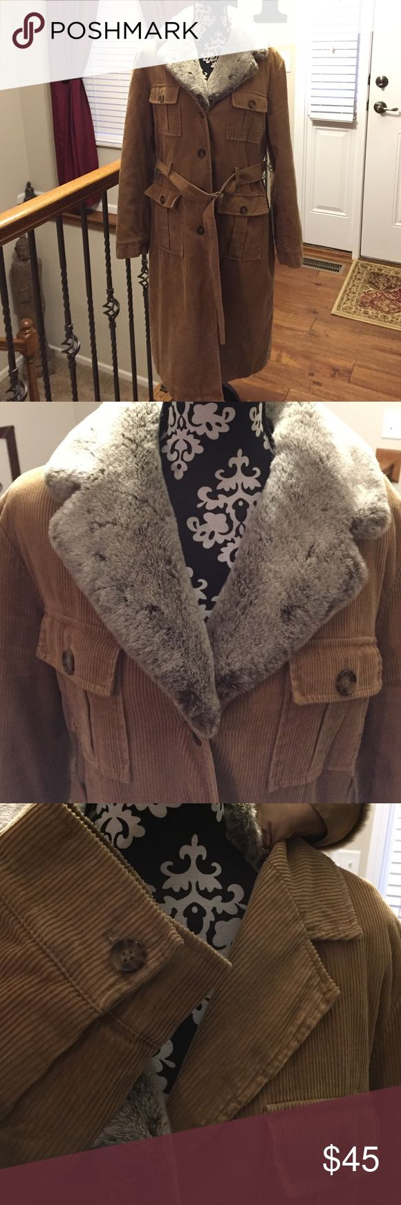 NEXT Coat Coat - Faux Fur detachable collar. Fully lined. Length 43 inches, arm length 24 inches, armpit to armpit 23 inches. Shell 100% Cotton (CORDUROY) Lining 100% Polyester.  Very pretty. UK size 18 US size 16. NEXT Jackets & Coats