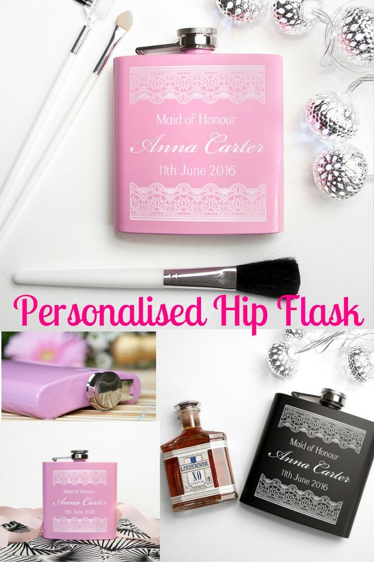 Personalised Hip Flask.  Ideal for a Bridesmaid Gift, a gift for the Bride or a Mother of the Bride Gift, this pink hip flask is a fabulous accessory to have for the Wedding Day.  Add your details for a unique and unusual gift.  Click on the image for the full product details and to Buy!