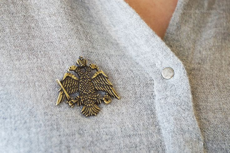 """Large Lapel Pin - Byzantine Double-Headed Eagle - The lapel pin adds a subtle air of """"dapper"""" to your look and is an easy way to customize your attire to your own personal style. #lapel #pin #byzantine #eagle #monastiriaka #proionta #mt #athos #agio #oros"""