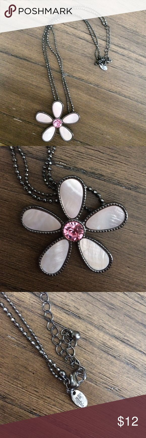 Lia Sophia necklace Lia Sophia necklace w/ pink flower pendant. Any girl would love! Lia Sophia Jewelry Necklaces