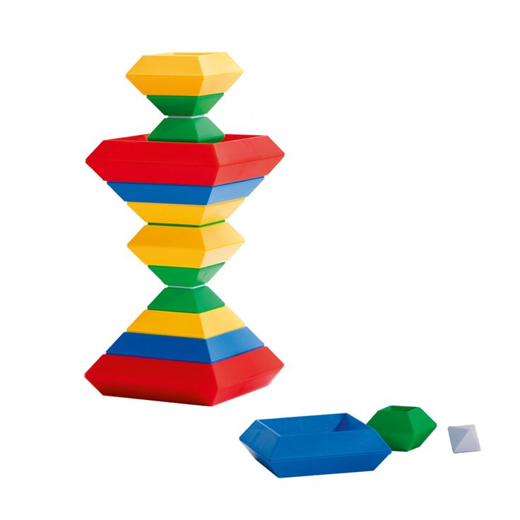 Ce puzzle pyramidal est composé de pièces de formes et de tailles différentes. L'enfant les saisit et soit, ils les empilent, soit ils les encastrent les unes aux autres. Il construit ainsi des pyramides et des formes géométriques en 3D. En manipulant ces pièces, l'enfant améliore sa dextérité. En réalisant différents assemblages, il développe sa créativité. Et quand il a terminé de jouer, il place les éléments de ce puzzle dans sa boîte de rangement.