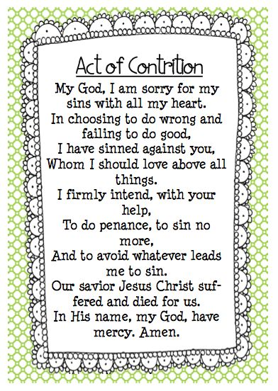 This is a graphic of Clean Act of Contrition Prayer Printable