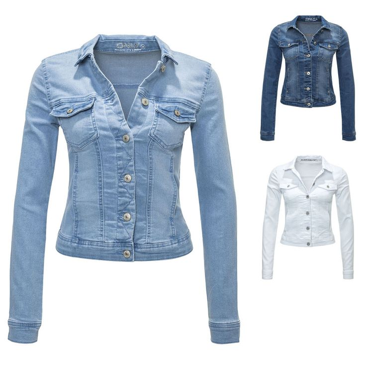 Only Damen Jeansjacke Damenjacke Denim Jacket 34/36/38/40/42 Blau Hellblau Weiß