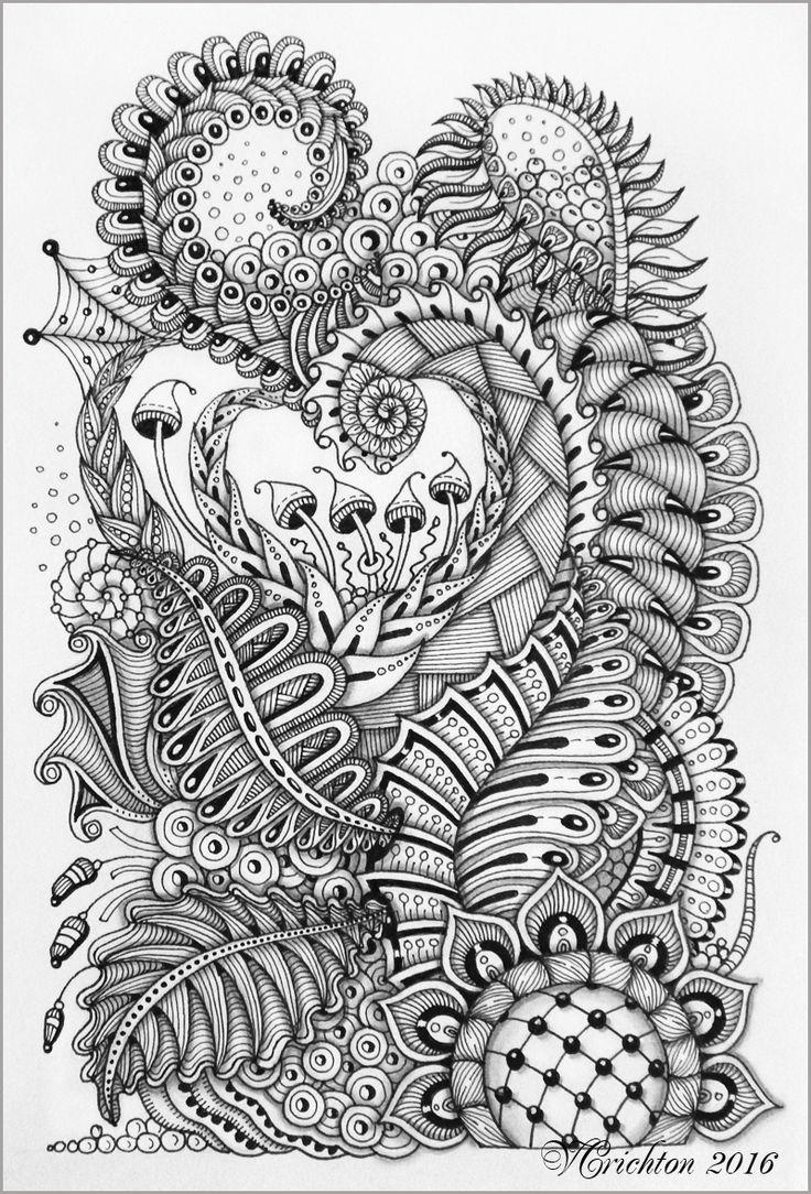 Disney zentangle coloring pages - Zentangle Art Gelpen Viktoriya Crichton Adult Coloringcoloring Pagescoloring
