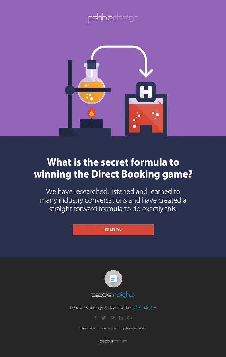 WHAT IS THE SECRET FORMULA TO WINNING THE DIRECT BOOKING GAME?   We have researched, listened and learned to many industry conversations and have created a straight forward formula to do exactly this.    Find Out More - http://pebbledesign.com/insights/what-is-the-secret-formula-to-winning-the-direct-booking-game
