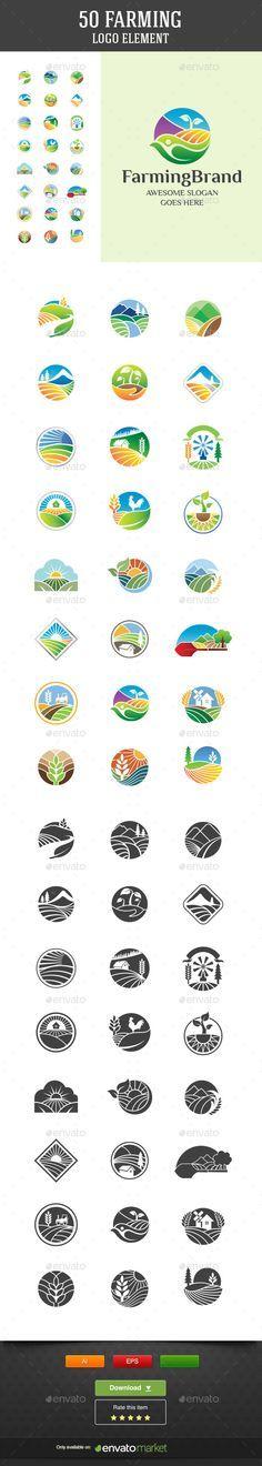 50 Farming Vector Logo Elements