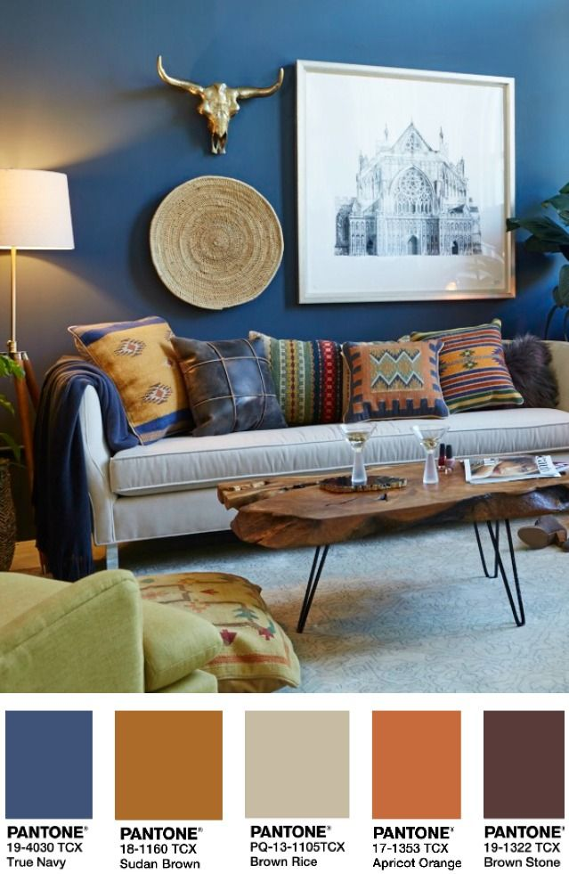 How To Style A Warm, Navy Living Room