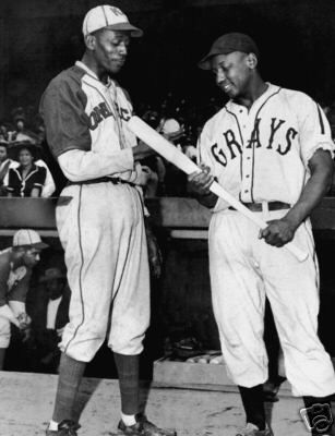 Satchel Paige, Kansas City Monarchs & Josh Gibson, Homestead Grays. Vintage Negro League Baseball photo.