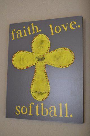 Faith. Love. Softball.  Standout Display by JaninaDesign on Etsy, $45.00