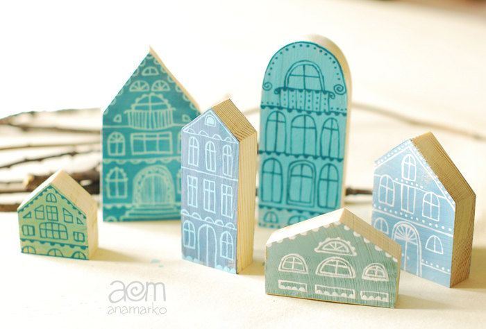 hand painted wooden houses - in blue - set of six.