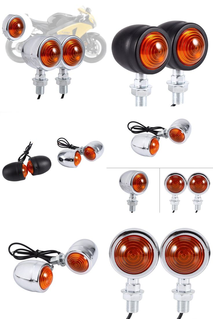 [Visit to Buy] Chrome Universal Bullet Motorcycle Motocicleta Turn Signal Indicator Amber Blinker Motorbike Lights 1 Pair #Advertisement