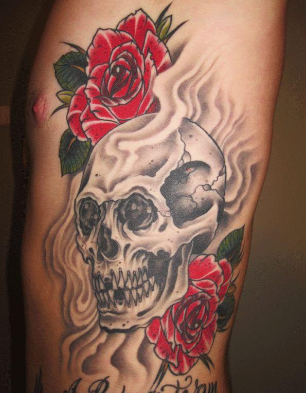 shoulder skull rose tattoo - 595×765