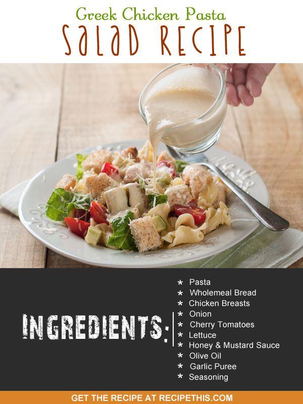 Greek Chicken Pasta Salad Recipe from RecipeThis.com