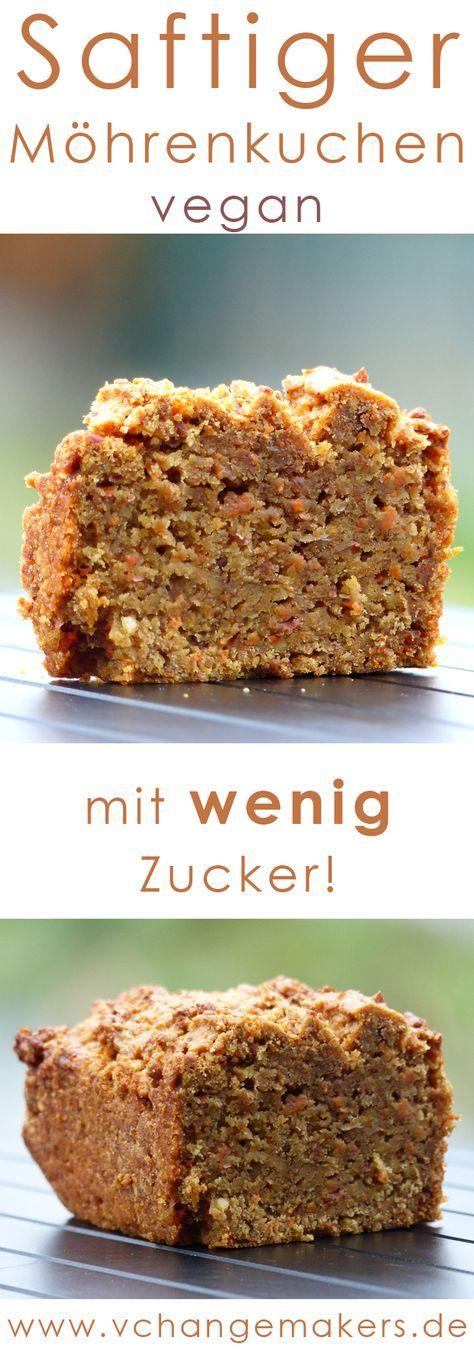 """saftiger veganer Möhrenkuchen mit wenig Zucker. Der Küchen enthält """"nur"""" 70 Gramm Zucker."""