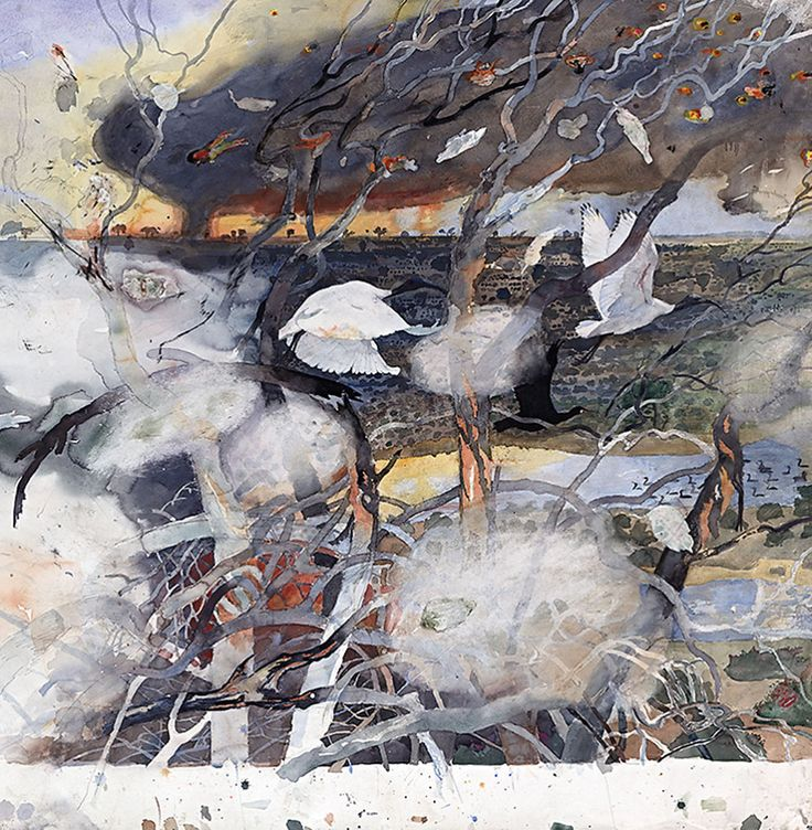 John Wolseley— Cycles of fire and water, Lake Tyrrell (detail — watercolour, charcoal, pencil)