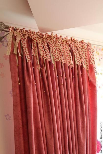 Текстиль, ковры ручной работы. Ярмарка Мастеров - ручная работа. Купить шторы в детскую. Handmade. Розовый, в горошек, бусины для украшений