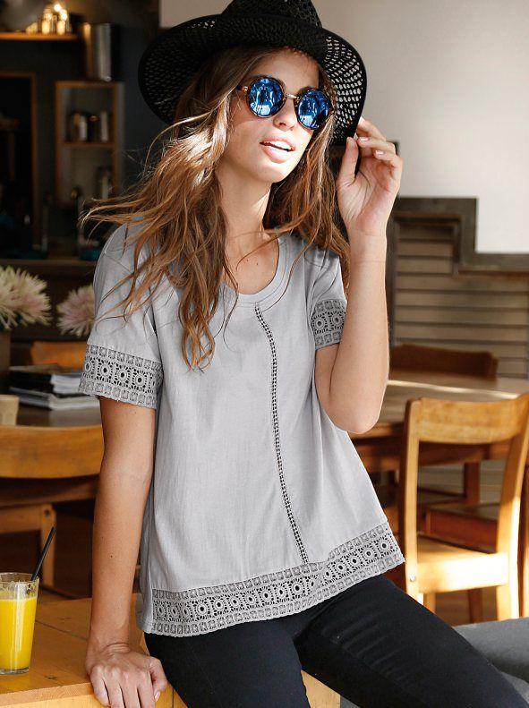 Camiseta mujer manga corta de algodón con guipur