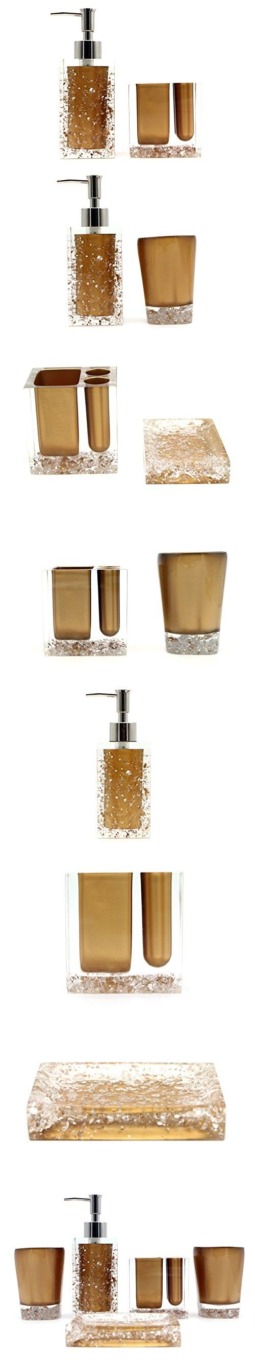 Hot San Resin 5 Pieces Bathroom Accessory Set - Ice Crystal In Gold Design Ensemble,Bathroom Vanities,Home Decor
