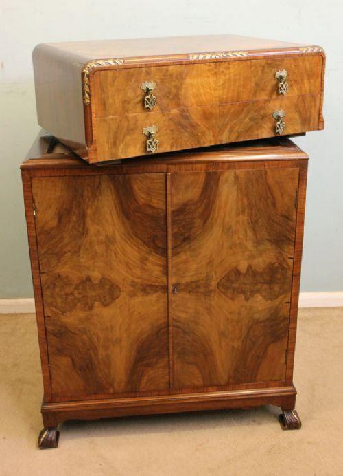 Figured Walnut Art Deco Style Tallboy | 465530 | Sellingantiques.co.uk