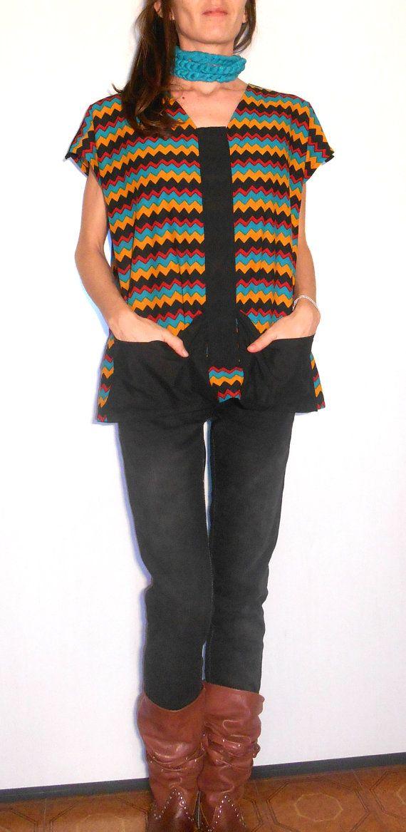 #Blouse #tunic #shirt #ethnic #handmade #missonistyle #cotton #indianfabric #zigzag #Vneckline #onesize #women #pockets #easywear