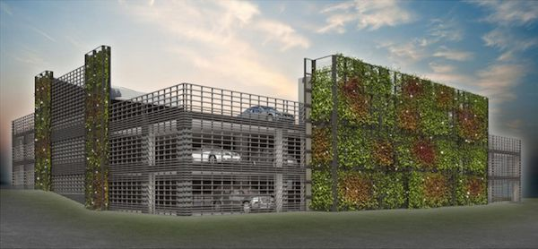 01 Green facades for a breathing parking. A vegetable facade, a photocatalytic pavement, the reuse of the rainwater, foundations designed according to the criticality of the soil and an electric system to reduce the power consumption: the multi-storey car park, designed by Fabrizio Bianchetti in Verbania, Italy, brings the principles of a sustainable architecture into a breathing parking.||WOW! Webmagazine.