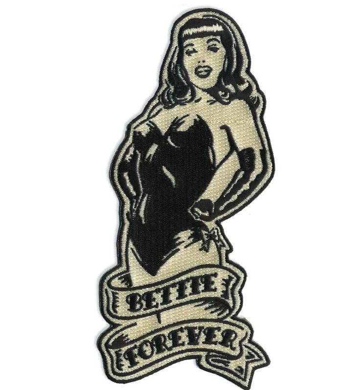 Bettie Page Forever Patch Embroidered Iron Jacket Applique Retro Pin Up Girl #RetroAGoGo