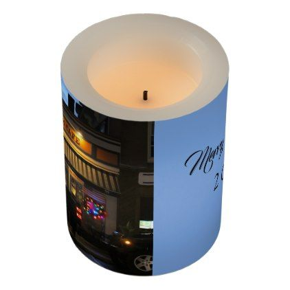Blue Moon Cafe Christmas LED Candle Customizable Flameless Candle - light gifts template style unique special diy