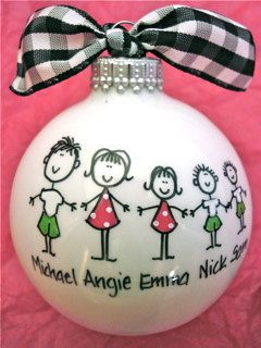 Hmmm Cute Idea! I might have to make one of these for the Toney's and Sterling's :)    Family Ornament  Personalized  Hand Painted by HappyYouHappyMe, $14.00