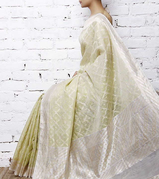 White & Green Handwoven Banarasi Kora Silk Saree