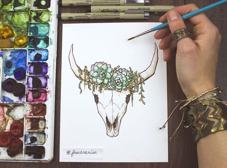 Succulents + Skull Art Print  | Art by Becca Stevens | freedomriseusa.com | @freedomrise