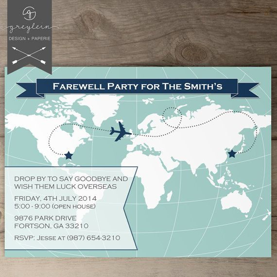 World Map Going Away Party Invitations / Goodbye Party by greylein