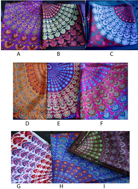 Silky Peacock Fabric Hippie Tapestry Bohemian by Cloud9Jewels