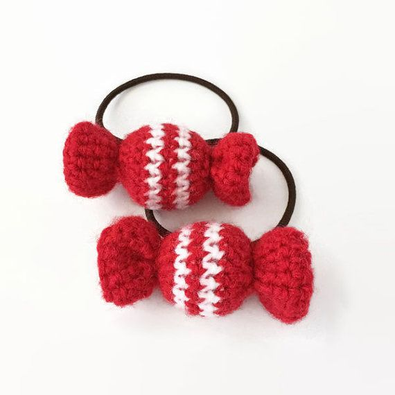 Hair Elastics Candies  Set of 2 Red White by KnKCraftsAndDesigns