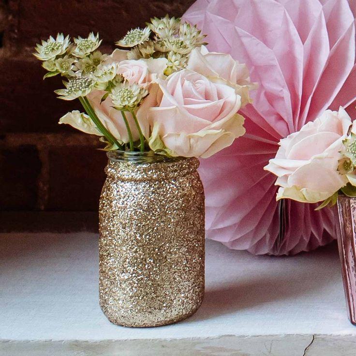 Gold Glitter Jar Vase