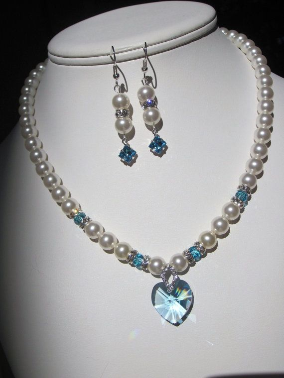 Swarovski perla y collar de cristal turquesa blanco