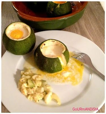Courgette ronde farcie : façon œuf cocotte au boursin