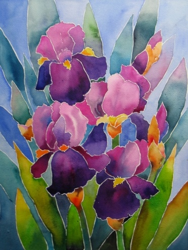 Watercolor Stained Glass Iris - by artist Nel Jansen