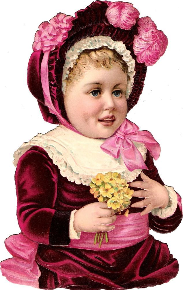 Oblaten Glanzbild scrap die cut chromo Kind child 24cm Baby Bebe Primeln